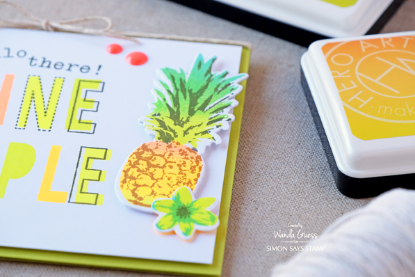 Hero Arts Layering Pineapple Stamps and Ombre Neon Ink Pads. Card by Wanda Guess