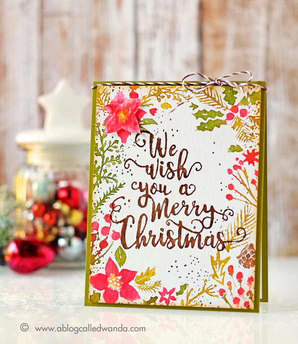 HERO ARTS HOLIDAY FLORAL BACKGROUND. CARD BY WANDA GUESS