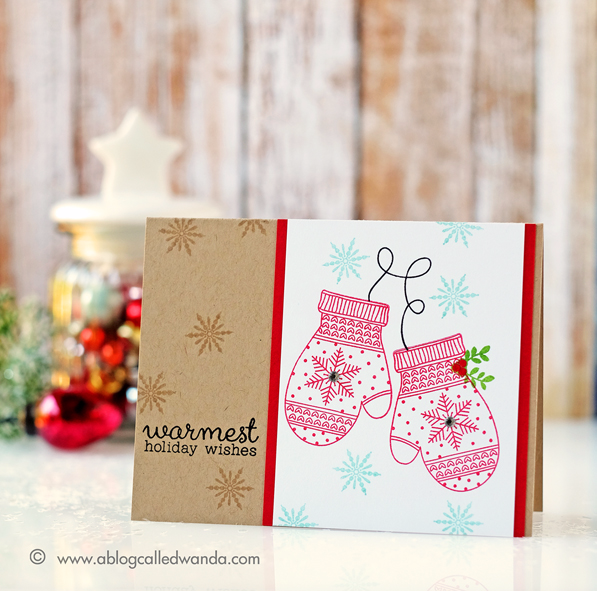 HERO ARTS HOLIDAY MITTENS STAMP SET. CARD BY WANDA GUESS