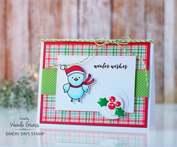 Simon Says Stamp - Stamptember 2016. Collaboration with Pretty Pink Posh. Winter Bird Friend stamp set. Card by Wanda Guess