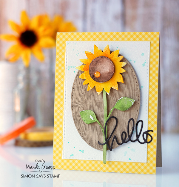 Watercolor Sunflower Card. SSS dies and Gansai Tambi watercolors. Card by Wanda Guess