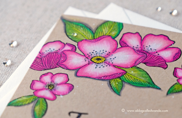 Altenew Adore You Stamp Set. November blog hop. Card by Wanda Guess. Prismacolor pencils on Kraft cardstock