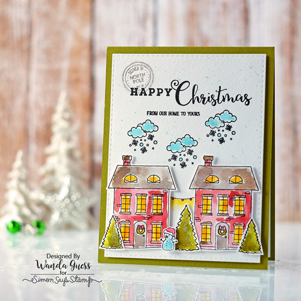Simon Says Stamp Advent Release. Christmas Town Stamp Set. Card by Wanda Guess. Distress Ink watercolors