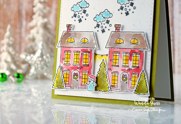 Simon Says Stamp Advent Holiday Icons. Planner stamps. Card by Wanda Guess. Distress Ink watercolor