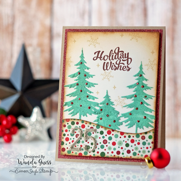 Simon Says Stamp Limited Edition Holiday 2016 Card Kit. Stenciled tress with Tim Holtz stencil and texture paste