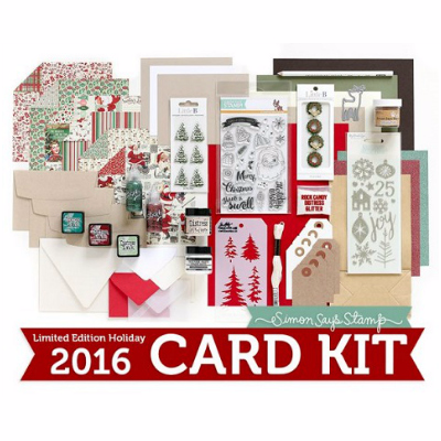 Simon Says Stamp Limited Edition Holiday 2016 Card Kit. Swell Christmas. Tim Holtz stencils. Ranger supplies. Distress Inks