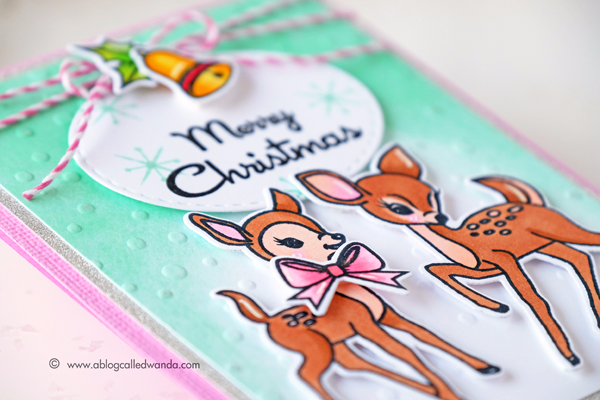 Avery Elle Kitsch Christmas stamps and dies. Card by Wanda Guess