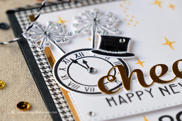 Hero Arts My Monthly Hero Kit. December 2016 Blog Hop. Project by Wanda Guess. Happy 2017 card