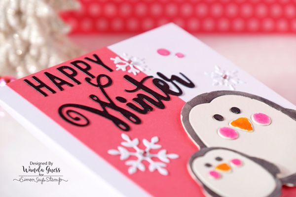 Simon Says Stamp Diecember 2016. Penguins card by Wanda Guess