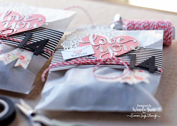 Valentine Treats in Glassine Bags. Simon Says Stamp Hey Love release of new dies. Project by Wanda Guess