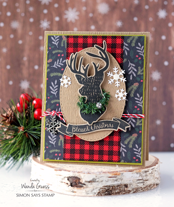 SIMON SAYS STAMP MAGICAL CHRISTMAS STAMP SET. PLAID MASCULINE CARD. WANDA GUESS