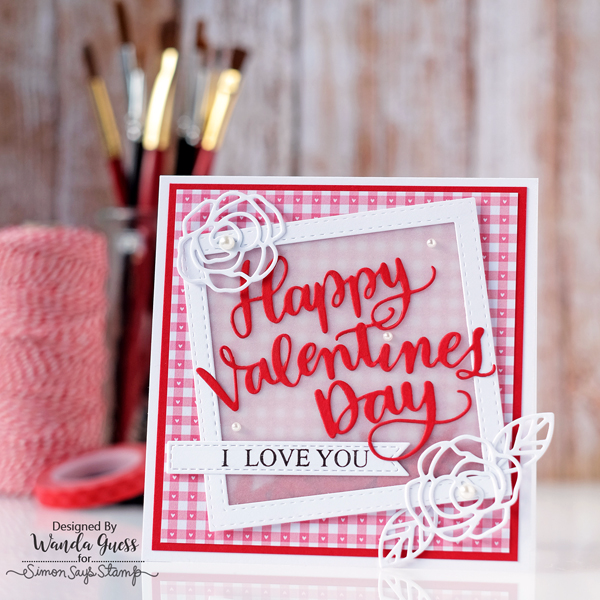 Valentine's Day Card. Handmade using stamps and dies from Simon Says Stamp. Hey Love collection. Red and white gingham. Vellum shaker pocket. Card by Wanda Guess