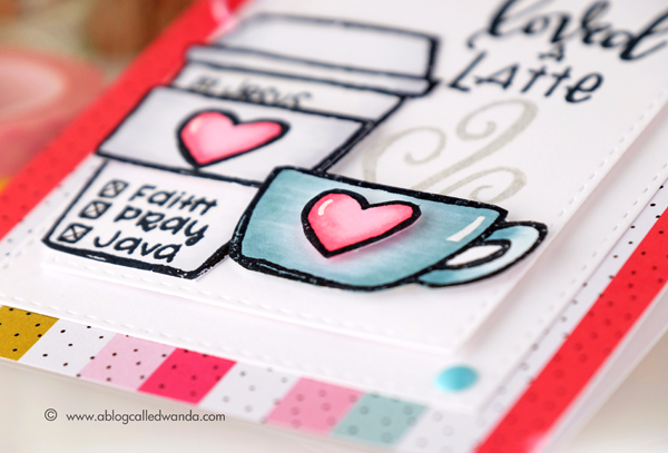 Loved a latte! Coffee card by Wanda Guess