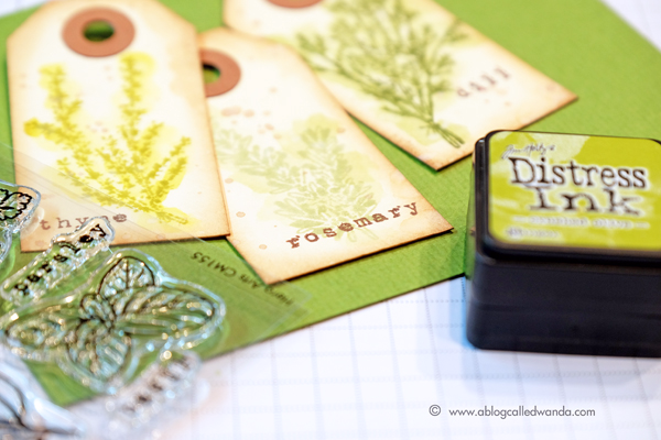 Hero Arts Herbs stamps colored with Distress Inks