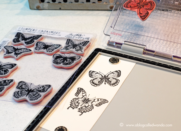 Tim Holtz Stamp Platform by Tonic Studios. Flutter Butterflies stamps from Tim Holtz