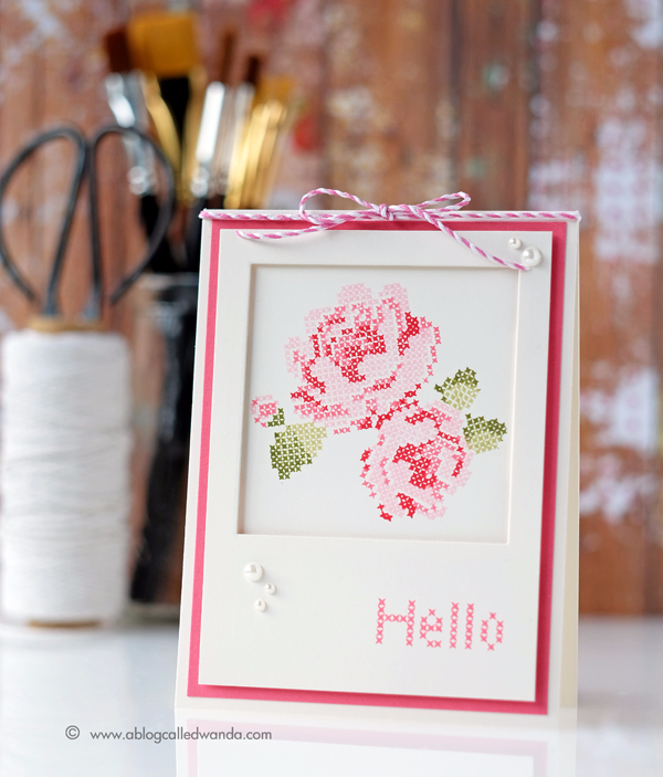 Waffle Flower Stitched Roses cards by Wanda Guess. Distress Inks and MISTI
