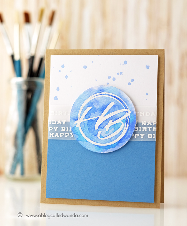 Papertrey Ink New Release Initial Sentiments Birthday stamp set. Card by Wanda Guess. PTI Design Team. Distress Ink watercolor