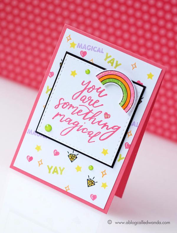 Hero Arts Magical and Rainbow stamps. Summer Catalog Blog Hop. Card by Wanda Guess