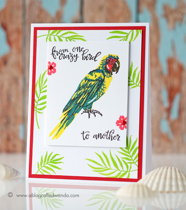 Hero Arts Parrot stamps! Summer Catalog Blog Hop. Card by Wanda Guess