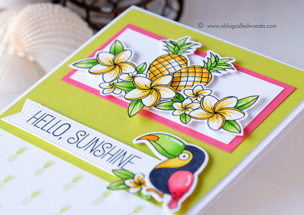MFT stamps Sketch Challenge. Polynesian Paradise stamp set. Tropical card by Wanda Guess. MFT Guest Designer