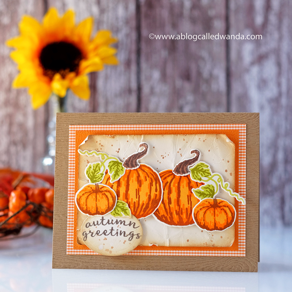 HERO ARTS CARD KIT SEPTEMBER. LAYERING PUMPKINS FALL CARD BY WANDA GUESS