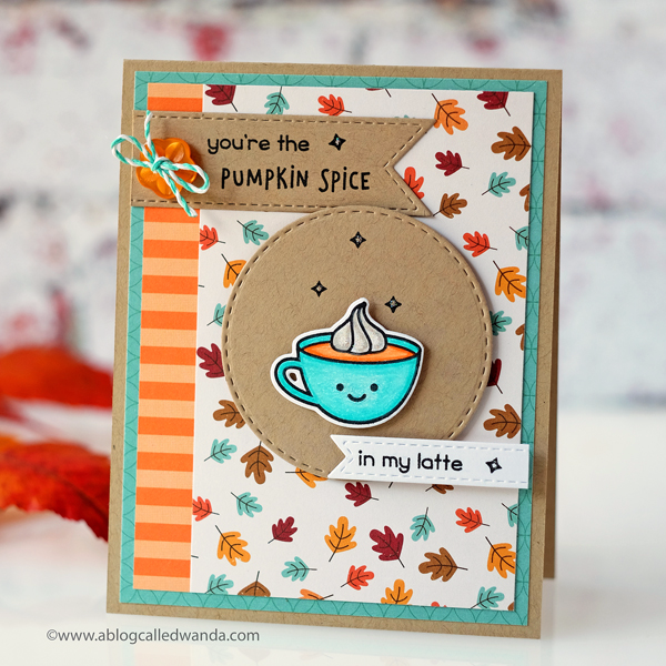 Lawn Fawn Pumpkin Spice. Coffee card by Wanda Guess