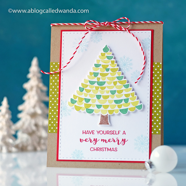 PAPERTREY INK VERY MERRY STAMP SET. CHRISTMAS CARD BY WANDA GUESS. PTI DESIGN TEAM