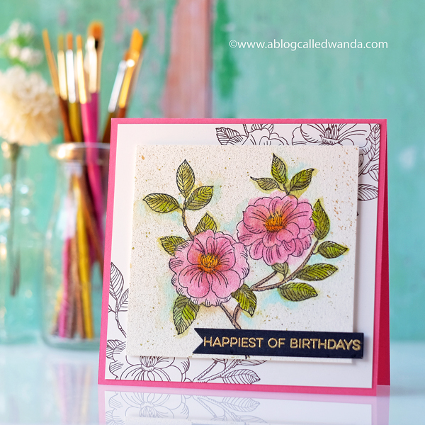 Impress Cards and Crafts Tree Rose stamp. Kuretake Zig markers