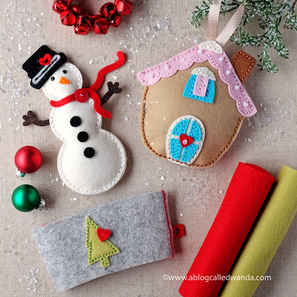 Papertrey Ink Felt Dies. Gingerbread house, snowman and coffee cozy