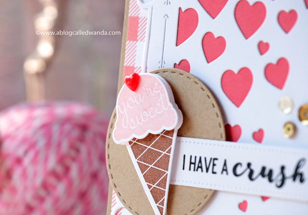 Papertrey Ink ice cream stamp. I have a crush on you. Valentine Card. Mix and Mat Hearts