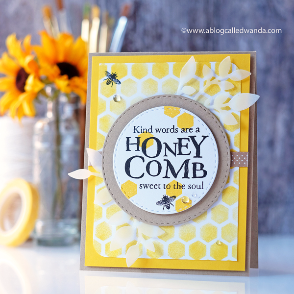 Papertrey Ink Quoted Honeycomb stamp set and Hexagon Stencils