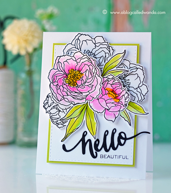 W Plus 9 Modern Peonies stamps watercolor