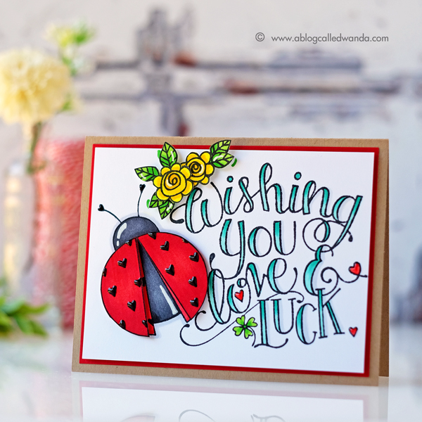 Tammy Tutterow for Spellbinders ladybug luck stamps