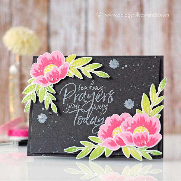 PTI Grans garden flower stamps chalkboard card