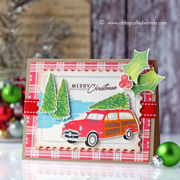 Papertrey Ink Wagon Christmas Card. Retro Christmas stamping station wagon