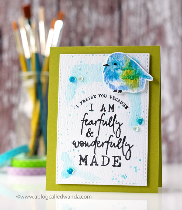 Papertrey Ink Brushed Birds stamp set. Year of Psalms stamp set. Distress Ink watercolor