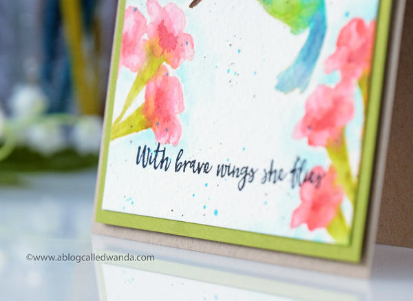 No line watercoloring with distress inks. Hero Arts stamps