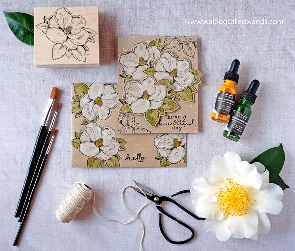 Hero Arts Flowering Magnolia stamp. Liquid watercolors on kraft paper. Project by Wanda Guess