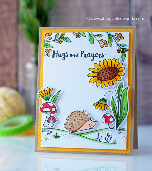Waffle Flower Autumn Time stamp set. Hedgehog and flowers. Copic coloring. Card by Wanda Guess