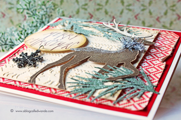 Tim Holtz Prancing Deer card by Wanda Guess