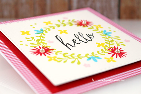 simon says stamp blog hop. Floral wreath card by Wanda Guess