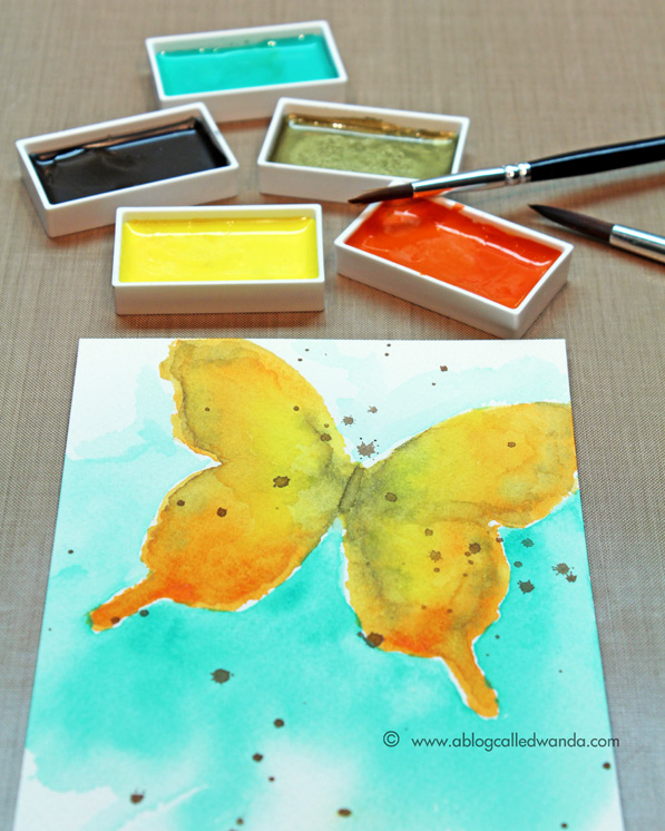 Kuretake Zig Watercolors card by Wanda Guess
