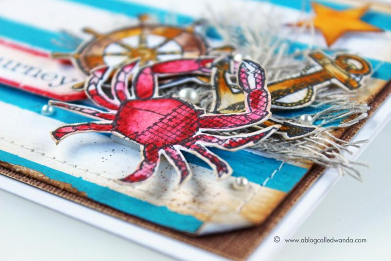 Mermaid Lagoon and Tim Holtz Mariner Blueprints - card by Wanda Guess