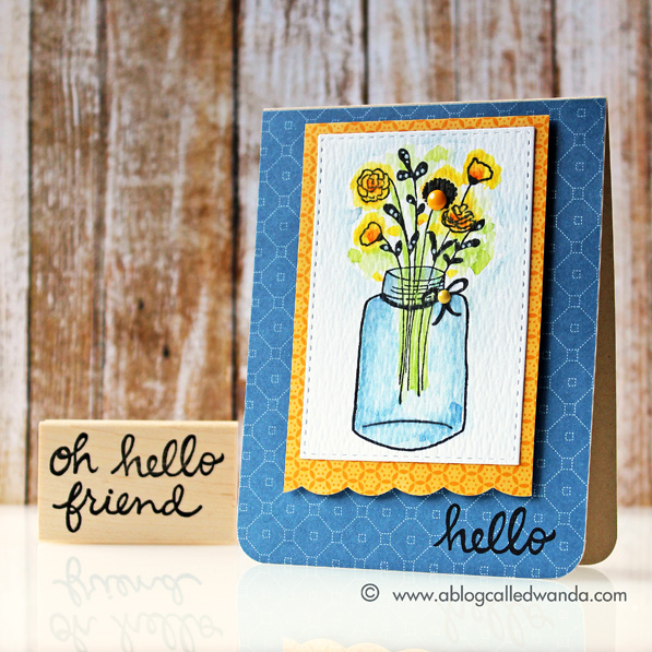 Savvy Stamps Floral Jar stamp. Card by Wanda Guess