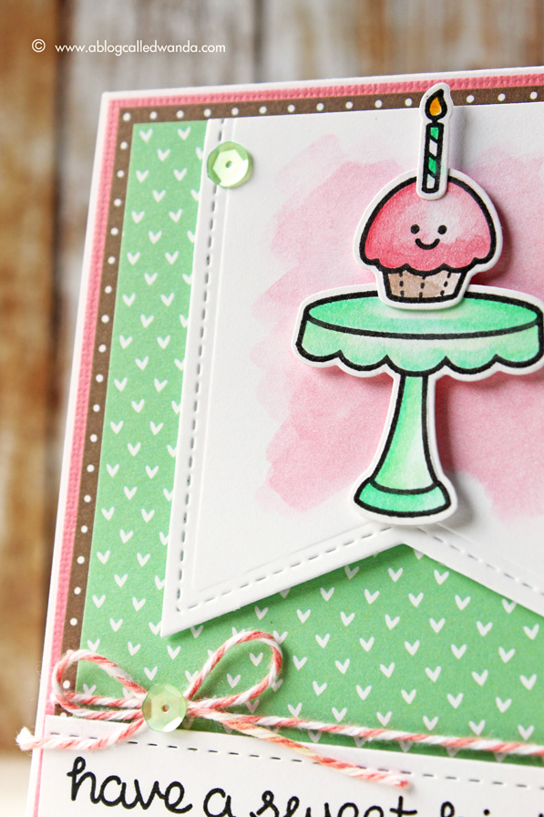 Lawn Fawn and Pretty Pink Posh. Watercolor blog hop card by Wanda Guess