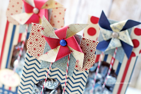 Pinwheels for 4th of July. Treat bags by Wanda Guess. Sizzix dies.