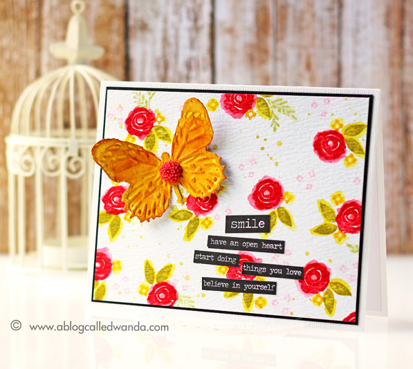 Distress Ink roses, WPlus9, Card by Wanda Guess