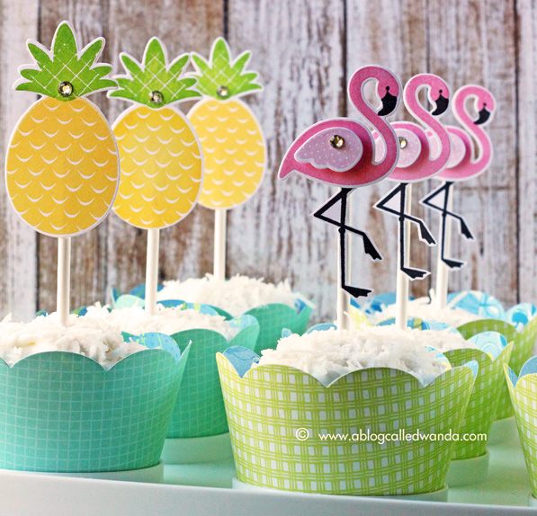 pina colada cupcakes. Stamped toppers with Reverse Confetti stamps. Flamingos and Pineapples. Made by Wanda Guess