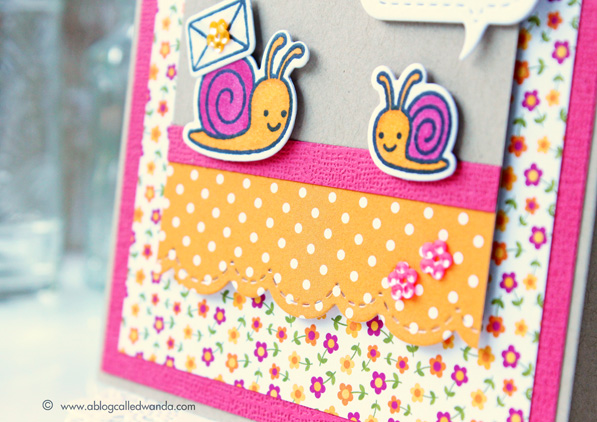 Snail mail!  Card by Wanda Guess. Lawn Fawn Gleeful Gardens stamp set. Pretty Pink Posh dies.