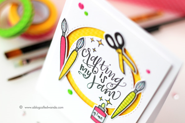 Crafting is my Jam! Neat and Tangled stamp set. Paper piecing challenge. Card by Wanda Guess